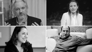 Julian Assange, Sarah Harrison, Renata Avila and Andy Müller-Maguhn